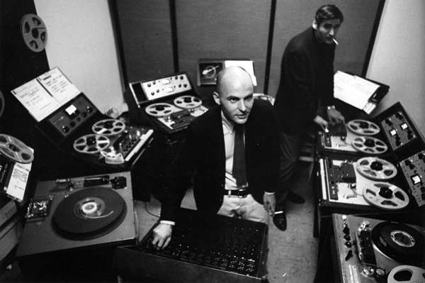 Tod Dockstader in the studio with James Reichert, circa 1965